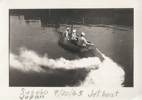 "Sasebo; jet rowboat using the ""handy billy"" as propulsion; September 1945"