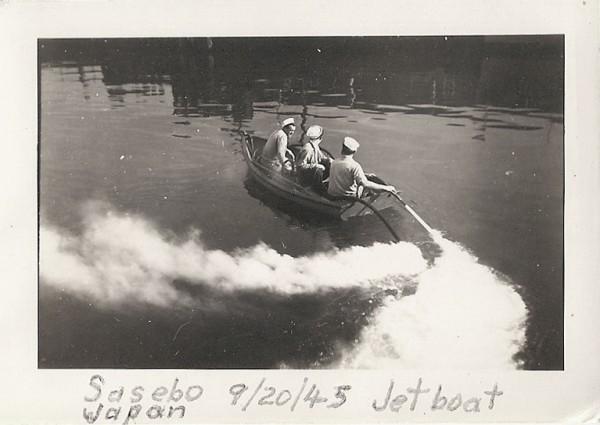 "Sasebo; jet rowboat using the ""handy billy"" as propulsion; September 1945"
