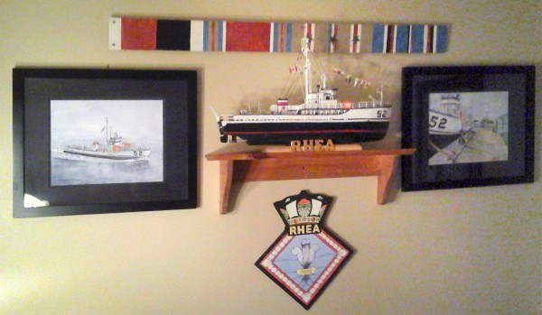 Model and paintings of USS Rhea by Bob Donaldson